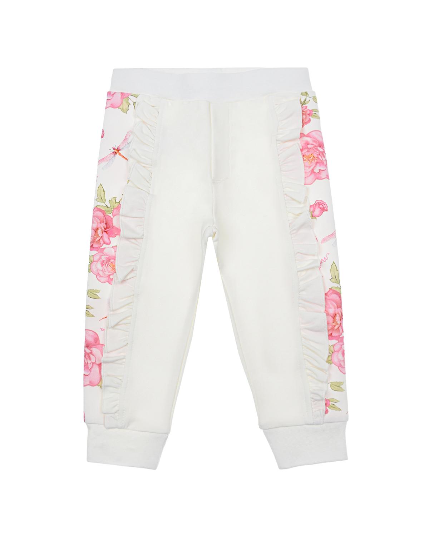 Купить Белые спортивные брюки с принтом розы Monnalisa детские, Белый, 95%хлопок+5%эластан