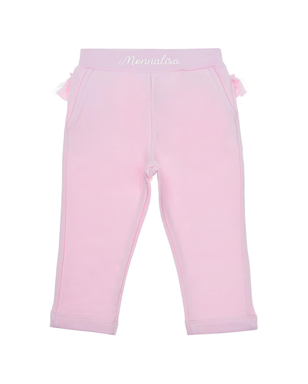 Купить Розовые спортивные брюки с рюшей Monnalisa детские, Розовый, 95%хлопок+5%эластан