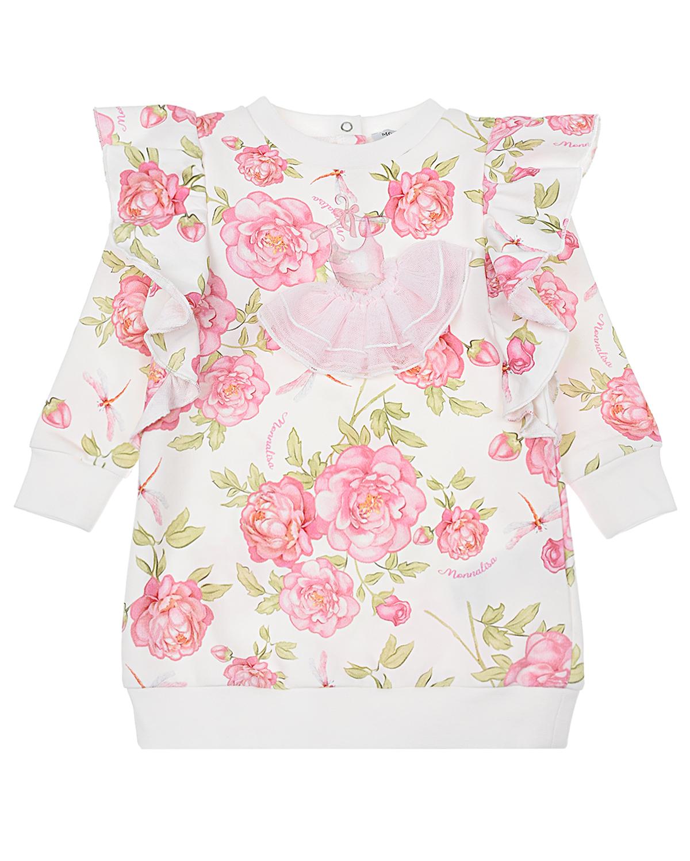 Купить Трикотажное платье с принтом розы Monnalisa детское, Белый, 95%хлопок+5%эластан
