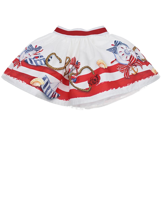 Купить Белая юбка с морским принтом Monnalisa детская, Белый, 100%хлопок, 100%полиамид