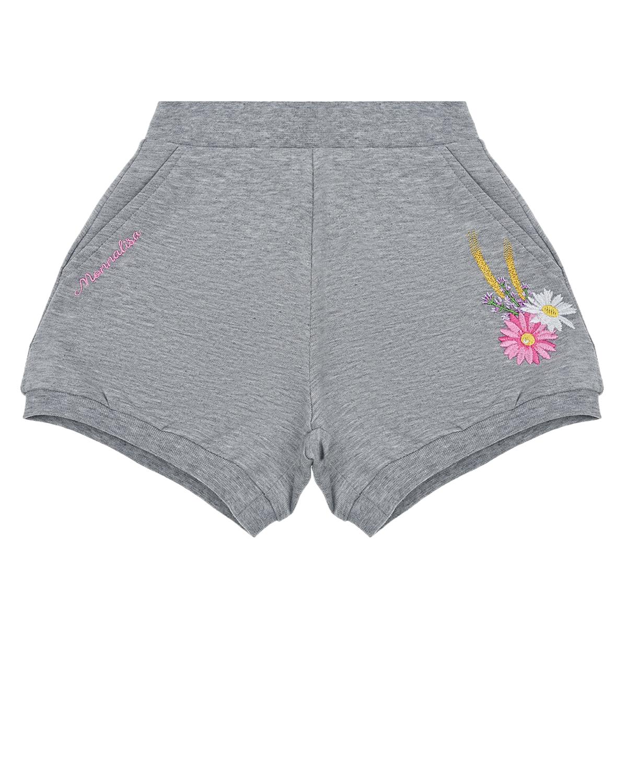 Купить Серые шорты с вышитыми цветами Monnalisa детские, Серый, 95% хлопок+5% эластан