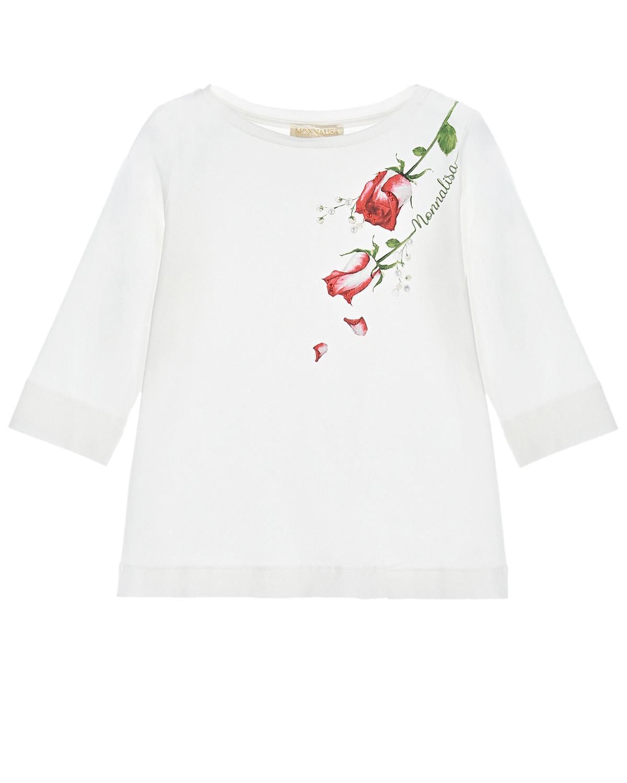Купить Белая толстовка с принтом красные розы Monnalisa детская, Белый, 95%хлопок+5%эластан