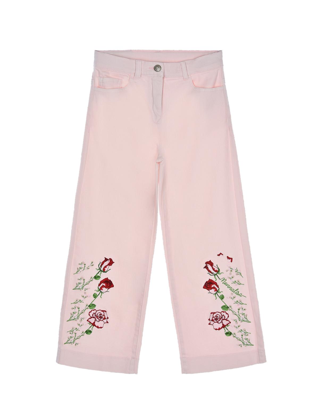 Купить Розовые брюки с вышивкой розы Monnalisa детские, Розовый, 97%хлопок+3%эластан