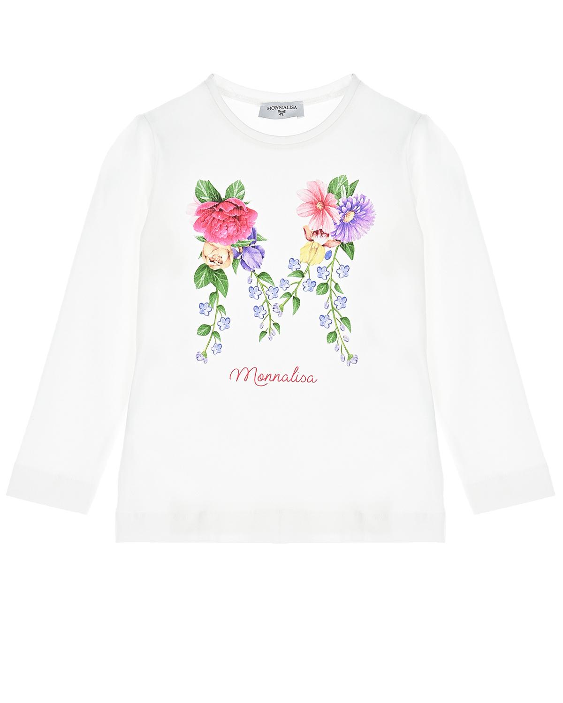 Купить Белая толстовка с принтом цветы Monnalisa детская, Белый, 95%хлопок+5%эластан
