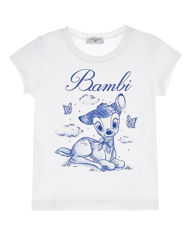 Купить Белая футболка с принтом олененок Monnalisa детская, Белый, 95%хлопок+5%эластан