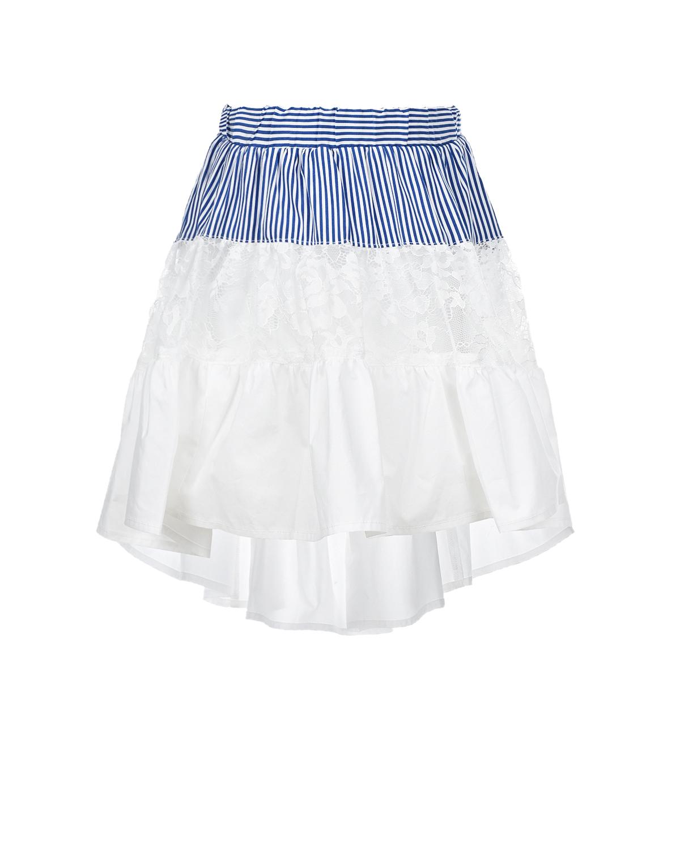 Купить Белая юбка со вставкой в полоску Monnalisa детская, Белый, 100% хлопок, 100% полиамид, 78% хлопок+17% полиамид+5% эластан