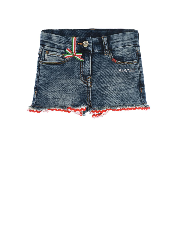 Купить Джинсовые шорты с отделкой рюшами Monnalisa детские, Синий, 89%хлопок+9%полиэстер+2%эластан