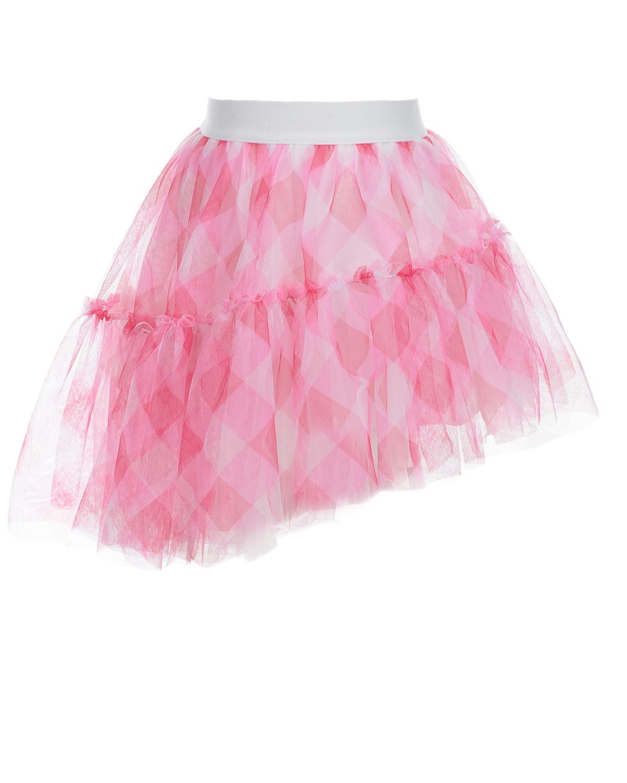 Купить Розовая юбка с асимметричным подолом Monnalisa детская, Розовый, 100%полиэстер, 100%хлопок