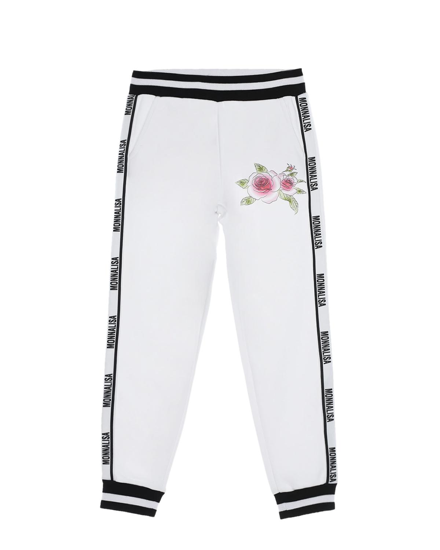 Купить Спортивные брюки с принтом розы Monnalisa детские, Белый, 85%хлопок+15%полиэстер