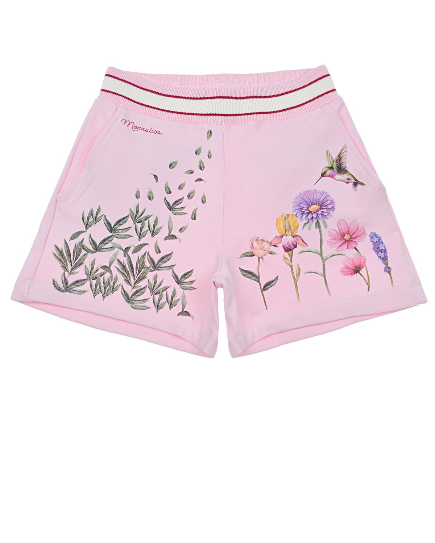 Купить Розовые шорты с цветочным принтом Monnalisa детские, Розовый, 95%хлопок+5%эластан
