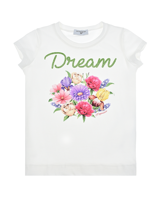 Купить Футболка с принтом Dream Monnalisa детская, Белый, 95%хлопок+5%эластан