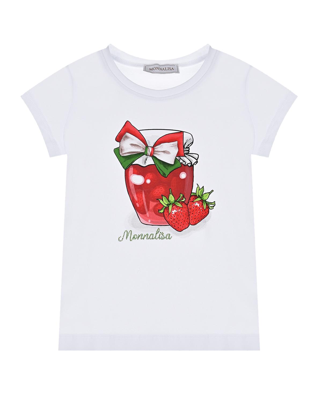 Купить Белая футболка с принтом клубничное варенье Monnalisa детская, Белый, 95%хлопок+5%эластан.