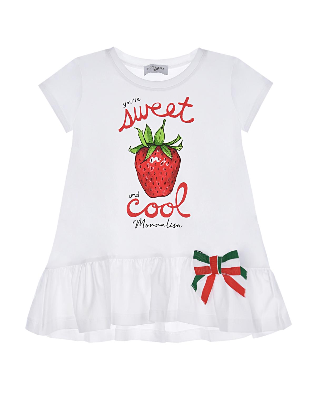 Купить Белая футболка с принтом клубника Monnalisa детская, Белый, 95%хлопок+5%эластан