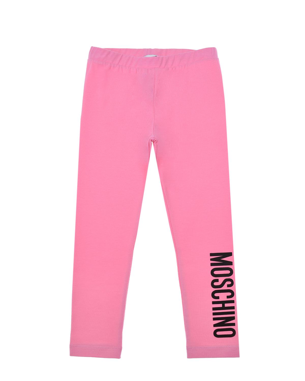 Купить Розовые леггинсы с логотипом Moschino детские, Розовый, 95%хлопок+5%эластан