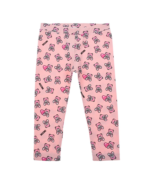 Купить Розовые леггинсы с принтом Moschino детские, Розовый, 95%хлопок+5%эластан