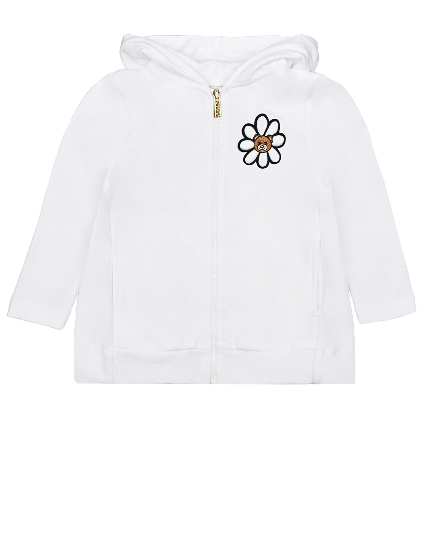 Купить Белая спортивная куртка с капюшоном Moschino детская, Белый, 95%хлопок+5%эластан, 100%полиэстер