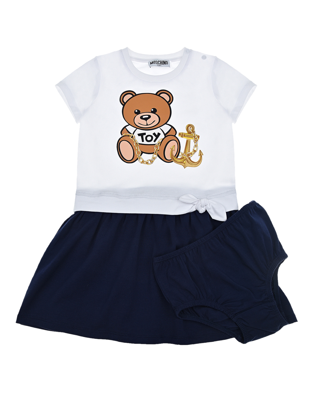 Купить Бело-синее платье с принтом Мишка с якорем Moschino детское, Мультиколор, 95%хлопок+5%эластан, 96%хлопок+4%эластан