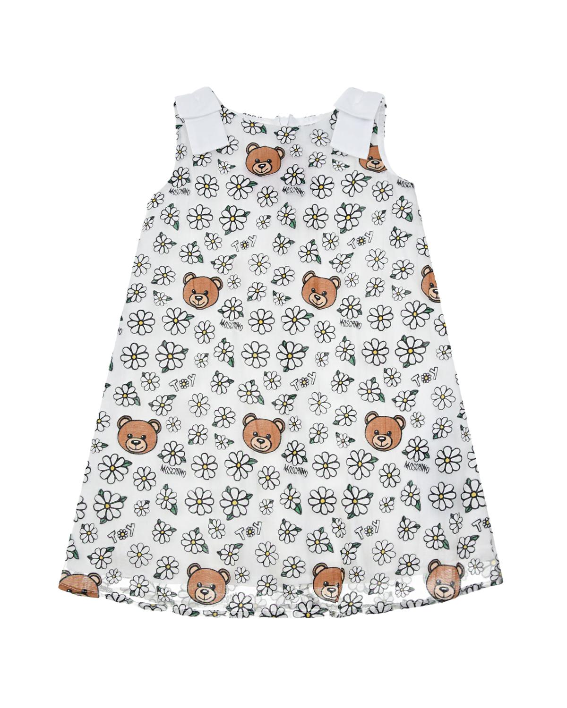 Купить Платье с принтом ромашки Moschino детское, Белый, 65%хлопок+35%полиамид, 100%хлопок