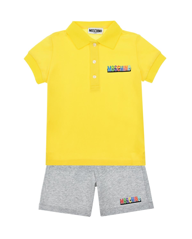 Желто-серый комплект: футболка + шорты Moschino детское, Мультиколор, 95%хлопок+5%эластан, 100%хлопок, 90%хлопок+10%эластан  - купить со скидкой