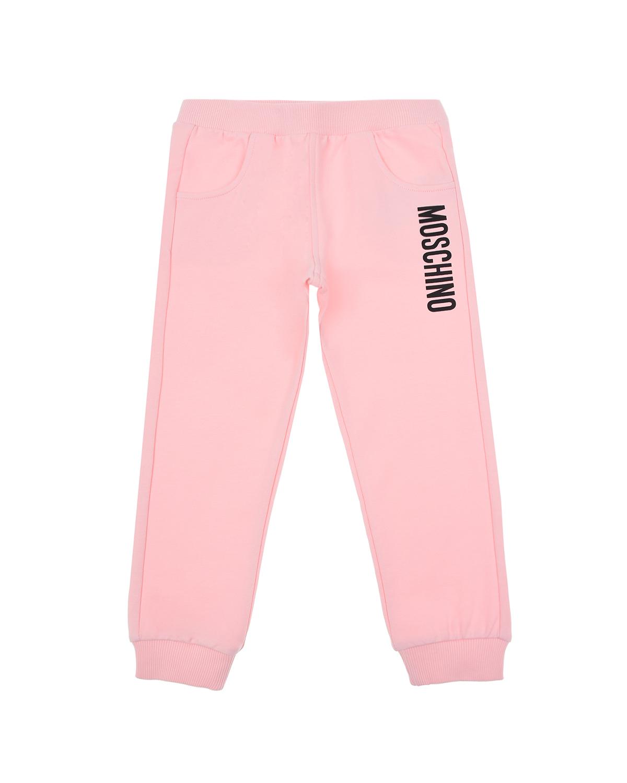 Купить Розовые спортивные брюки с логотипом Moschino детские, Розовый, 95%хлопок+5%эластан