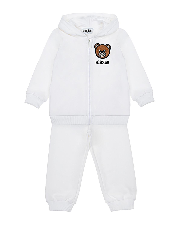 Купить Белый спортивный костюм с принтом медвежонок Moschino детский, 95%хлопок+5%эластан, 60%акрил+20%шерсть+20%полиэстер, 100%вискоза