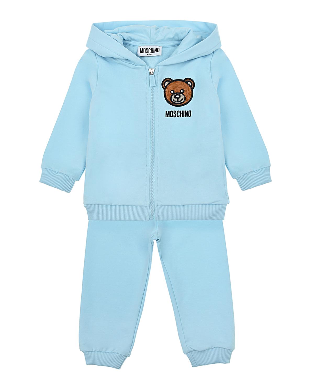 Купить Спортивный костюм голубого цвета Moschino детский, Голубой, 95%хлопок+5%эластан, 60%акрил+20%шерсть+20%полиэстер, 100%вискоза