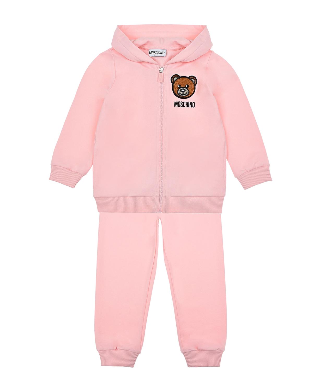 Купить Розовый спортивный костюм Moschino детский, 95%хлопок+5%эластан, 60%акрил+20%шерсть+20%полиэстер, 100%вискоза