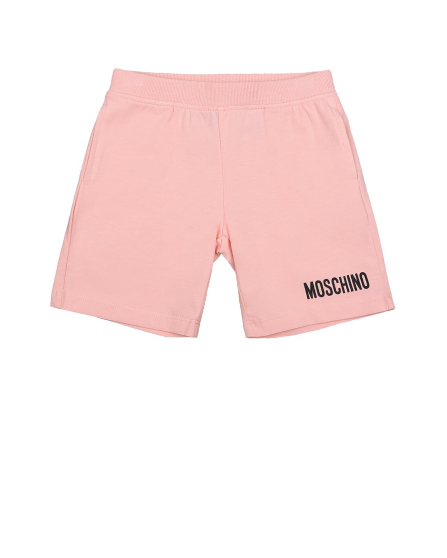 Купить Розовые шорты с логотипом Moschino детские, Розовый, 95%хлопок+5%эластан
