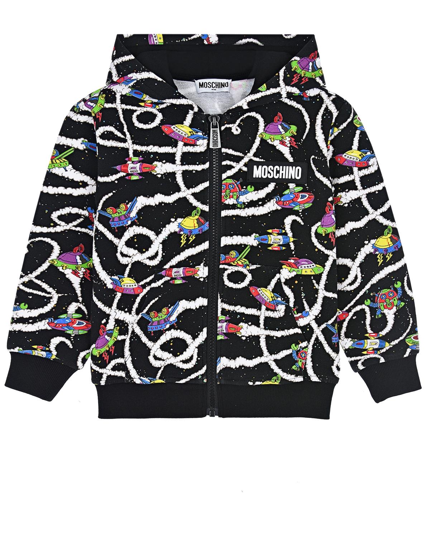 Купить Куртка спортивная с принтом космос Moschino детская, Черный, 94%хлопок+6%эластан, 100%полиэстер, 95%хлопок+5%эластан