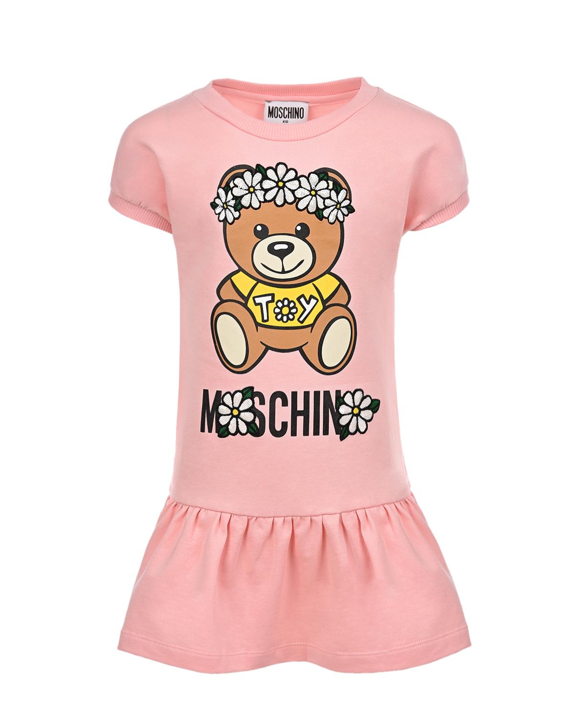 Купить Розовое платье с принтом Мишка Moschino детское, Розовый, 95%хлопок+5%эластан, 100%полиэстер