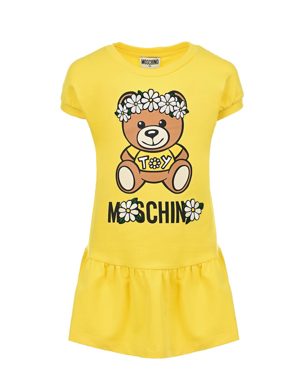 Купить Желтое платье с принтом Мишка Moschino детское, Желтый, 95%хлопок+5%эластан, 100%полиэстер