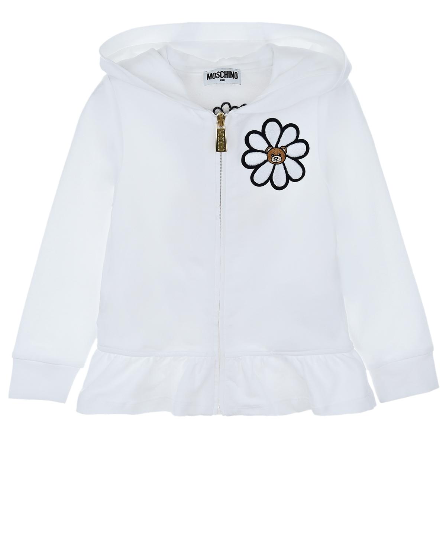 Купить Белая спортивная куртка с оборкой Moschino детская, Белый, 95%хлопок+5%эластан, 100%полиэстер