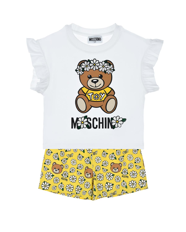 Купить Летний комплект из футболки и шорт Moschino детский, Мультиколор, 95%хлопок+5%эластан, 100%полиэстер