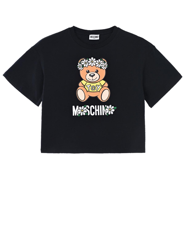 Купить Черная футболка с принтом медвежонок Moschino детская, Черный, 95%хлопок+5%эластан, 100%полиэстер