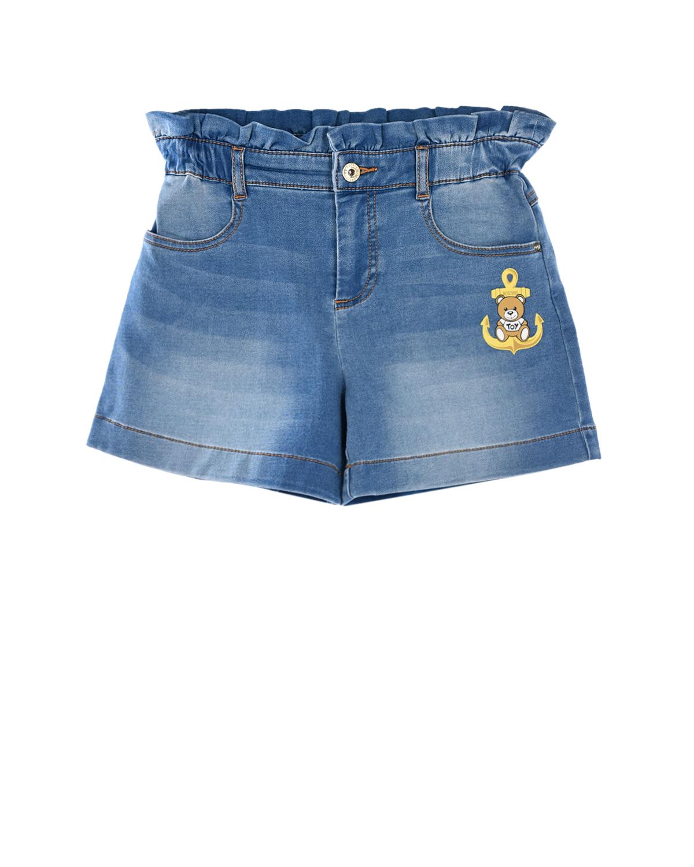 Купить Джинсовые шорты с аппликацией Moschino детские, Голубой, 83%хлопок+15%полиэстер+2%эластан, 100%полиэстер
