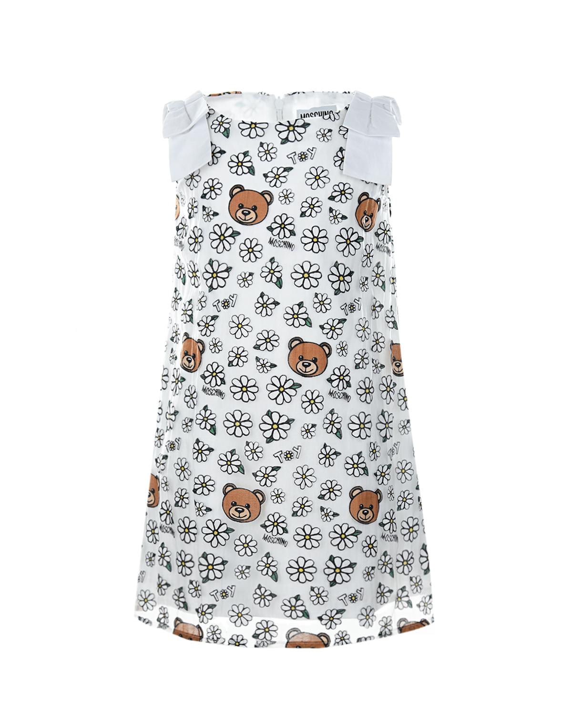 Купить Белое платье с принтом ромашки Moschino детское, Белый, 65%хлопок+35%полиамид, 100%хлопок