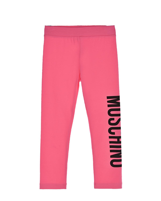 Купить Розовые леггинсы с черным логотипом Moschino детские, Розовый, 95%хлопок+5%эластан