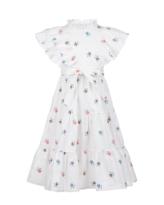 Купить Белое платье с цветочной вышивкой Paade Mode детское, Белый, 50%лен+40%хлопок+10%полиэстер, 100%хлопок