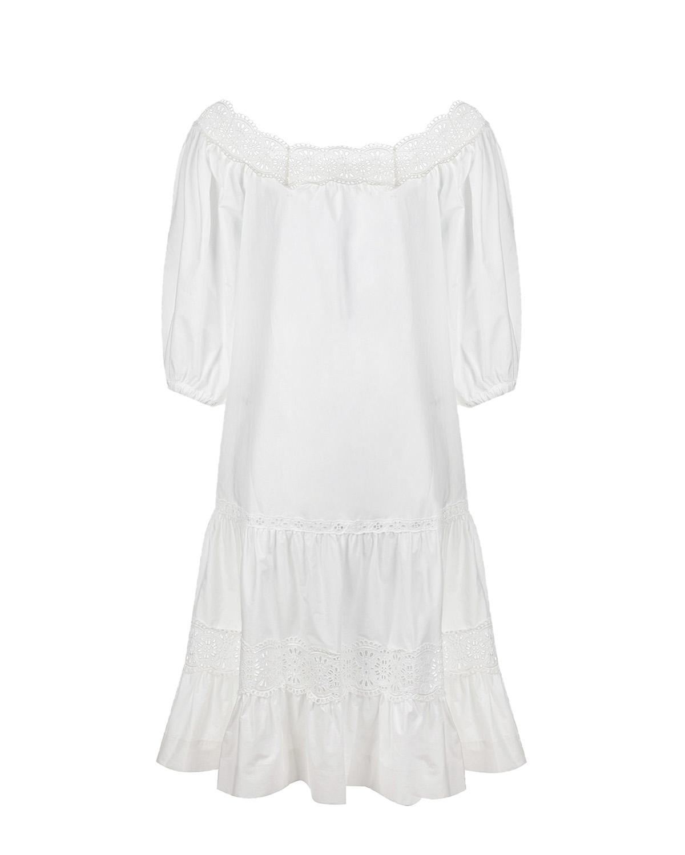 Купить Белое платье с рукавами-воланами Parosh, Белый, 100% хлопок