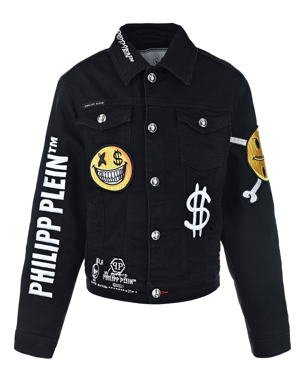 Купить Черная джинсовая куртка с логотипом Philipp Plein детская, Черный, 98%хлопок+2%эластан, 65% полиэстер+35% хлопок, 100% полиэстер