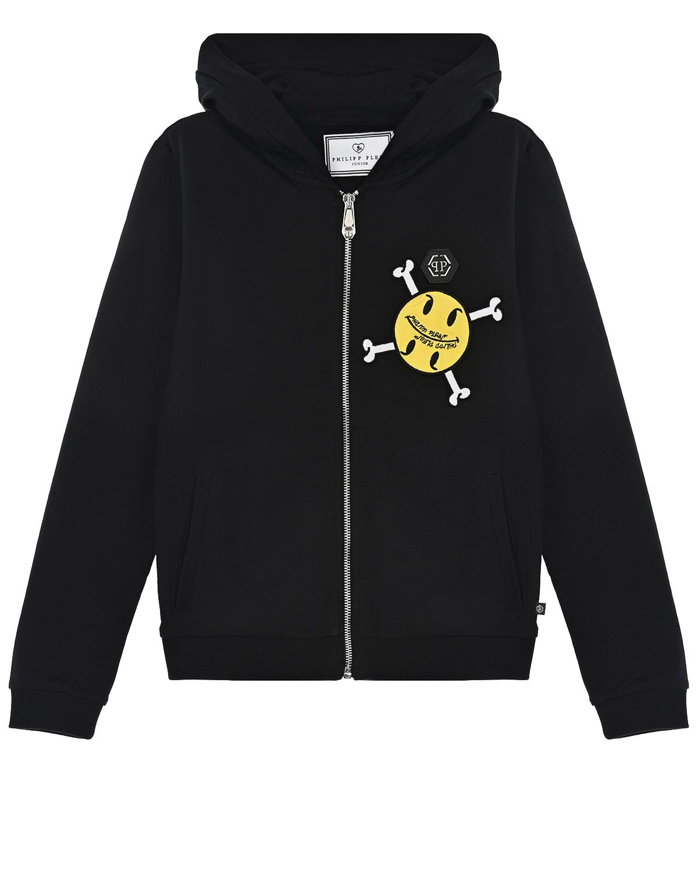 Купить Черная спортивная куртка с принтом smile-череп Philipp Plein детская, Черный, 95%хлопок+5%эластан