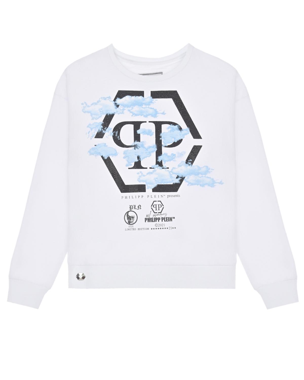 Купить Белый свитшот с принтом облака Philipp Plein детский, 95%хлопок+5%эластан, 100%стекловолокно