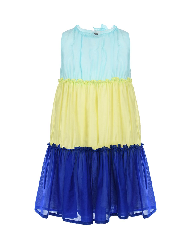 Купить Трехцветное платье без рукавов IL Gufo детское, Мультиколор, 100%хлопок