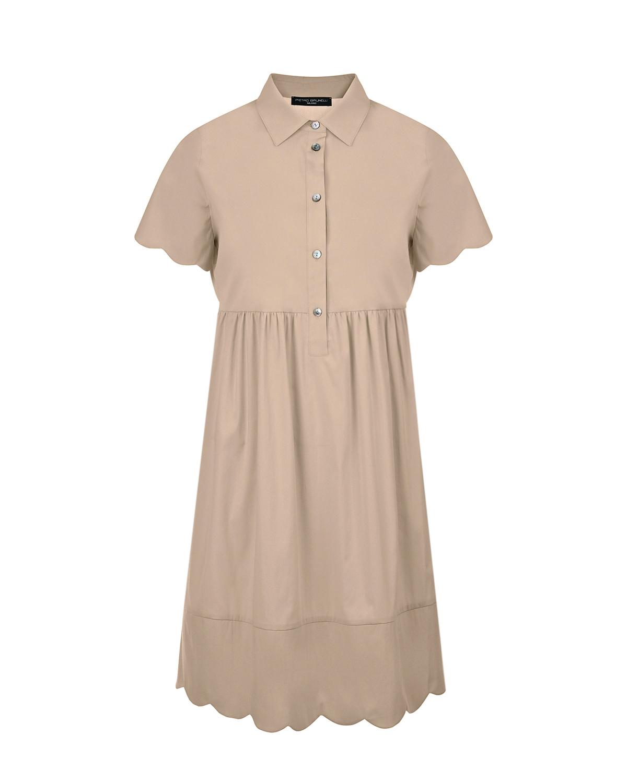 Купить Бежевое платье для беременных BERNADETTE Pietro Brunelli, Бежевый, 79%хлопок+18%полиамид+3%эластан, 100%вискоза