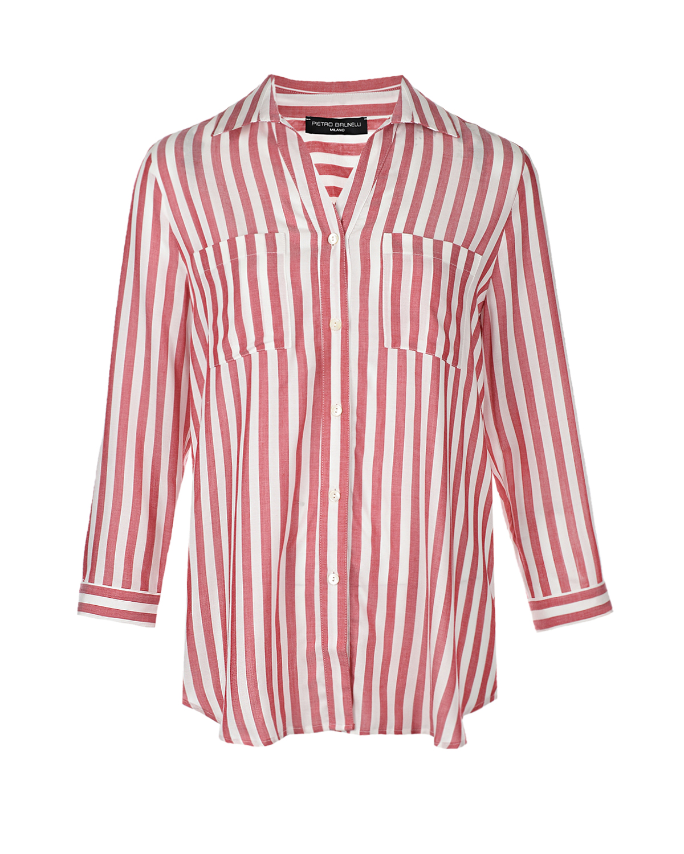Купить Рубашка для беременных Daniela в бело-красную полоску Pietro Brunelli, Красный, 100% вискоза