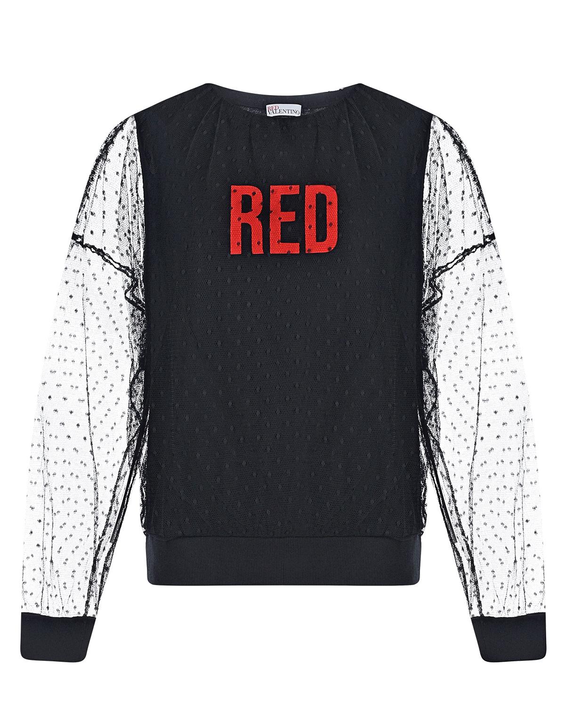 Купить Черный джемпер с рукавами из фатина Red Valentino, 100%полиамид