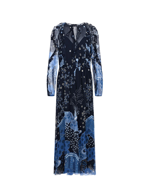 Купить Синее платье с растительным принтом Red Valentino, Синий, 100%полиэстер