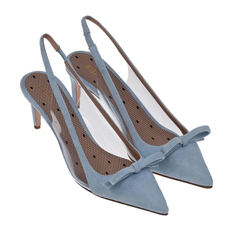 Купить Голубые туфли из замши Red Valentino, Голубой, Верх:100%кожа, Подкладка:100%кожа, Стелька:100%кожа, Подошва:100%кожа