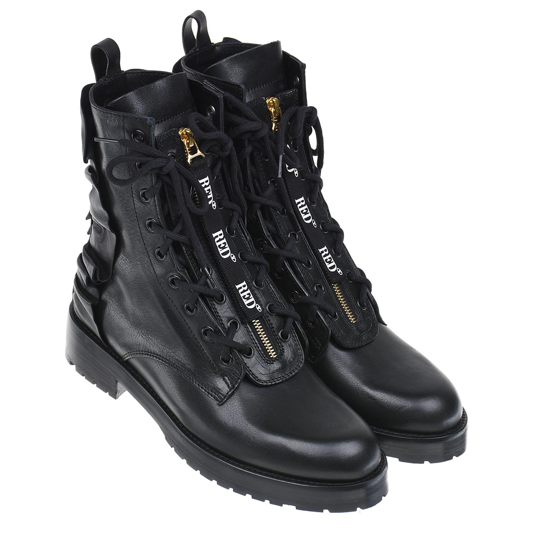 Купить Высокие черные ботинки Red Valentino, Черный, Верх:100% кожа, Подкладка:100% кожа, Стелька:100% кожа, Подошва:50% пластик+50% кожа