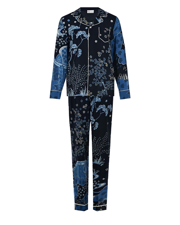 Купить Синий комплект из шелка Red Valentino, 100%шелк, 100%полиэстер